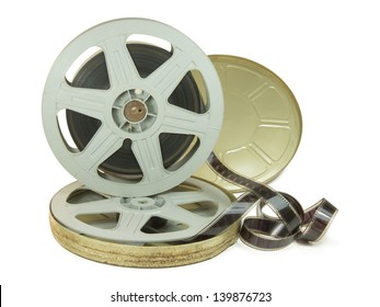 A 35mm film in two reels and its rusty can, isolated over white, with clipping path