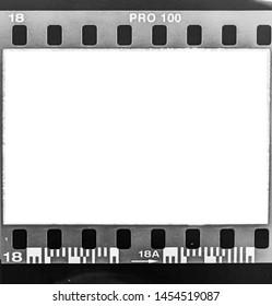 35mm filmstrip on white background.color film frame.