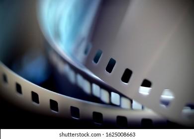 35mm negative film. Photographic black and white film in blur.