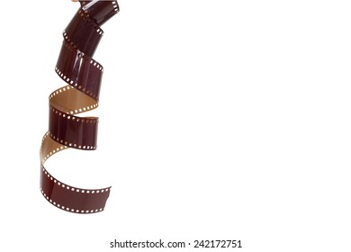 35mm old Photography film Curled Shape with copy space (include clipping path )