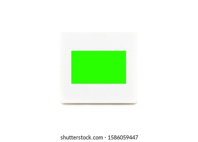 35mm Plastic Diapositive Slide with Copy Space and green screen on center Isolated on White Background.