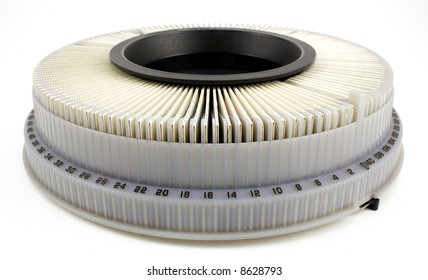 35mm slide projector carousel isolated on white background