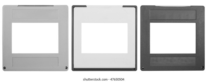 35mm slides, isolated on white background,free space for your pics