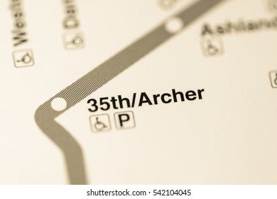 35th/Archer Station. Chicago Metro map.