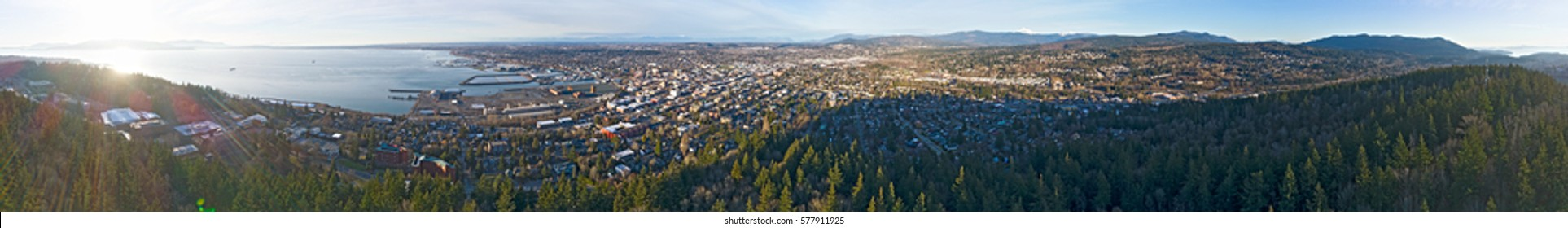 360 Aerial View of Bellingham, Washington State from Bay to Downtown Commercial District, Western Wa University, City and Forests