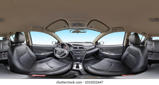 360 angle panorama view in interior leather salon of prestige modern car. Full 360 by 180 degrees seamless equirectangular equidistant spherical panorama. vr ar content