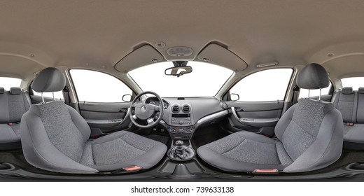 360 angle panorama view in interior of prestige modern car white background. Full 360 by 180 degrees seamless equirectangular equidistant spherical panorama. Skybox as background for vr ar content