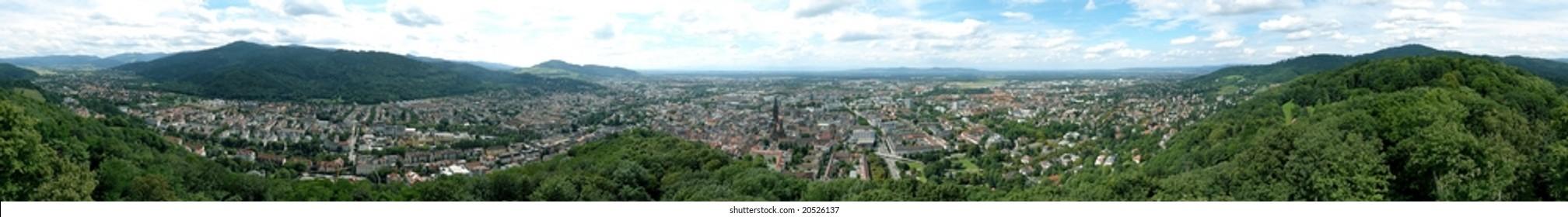 360 deg. panorama view of Freiburg im Breisgau, Germany