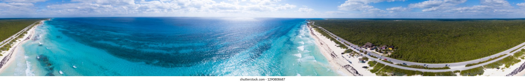360 degree aerial panorama of beaches on the east side of Cozumel, Mexico.