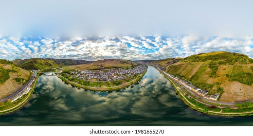 360 degree aerial Panorama view on Zell am Mosel. Beautiful historical town on the loop of romantic Moselle river. Rhineland-Palatinate, Germany, between Trier and Koblenz