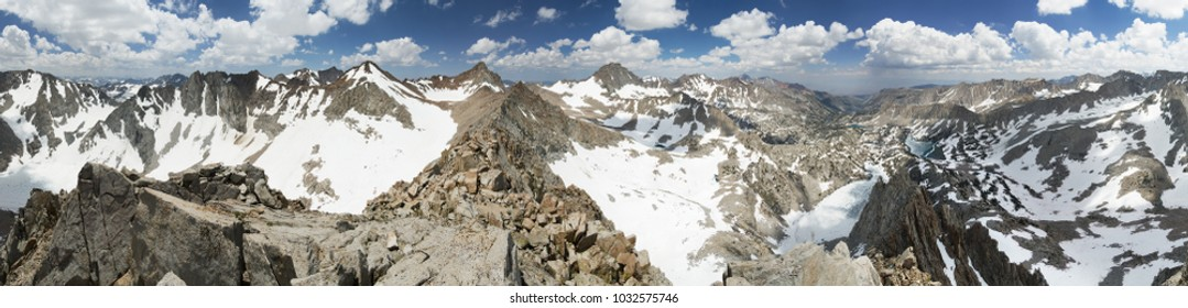 360 degree mountain summit panorama from the top of Picture Peak in the eastern Sierra Nevada Mountains of California
