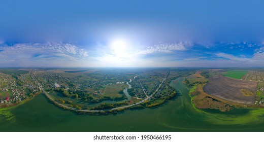 360 degree pano of Beautiful River in the town. Blue sky. Beautiful bright landscape photography with drone on a autumn day