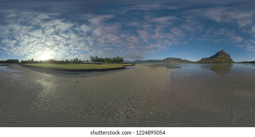 360 degree panorama of Mauritius landscape with water, Le Morne Brabant and other mountains. View to the golf course