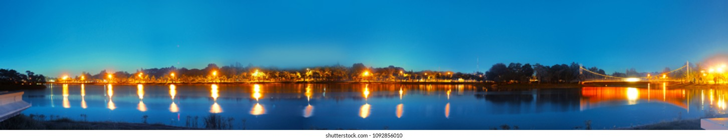 360 degree panorama night scape with reflection from lake