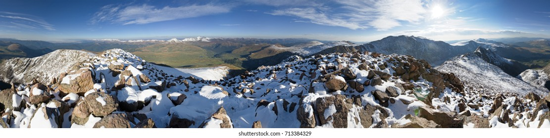 360 degree panorama from the snowy summit of Mount Bierstadt in Colorado with Mount Evans on the horizon
