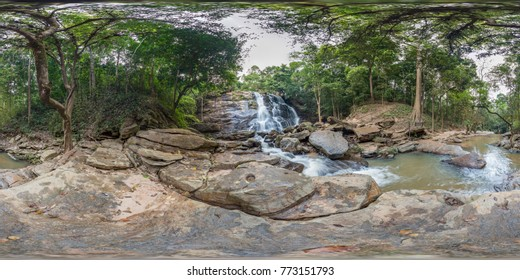 360 degree panorama : Tad Mhonk Waterfall In Doi Suthep - Pui National Park, Chiang Mai, Thailand.