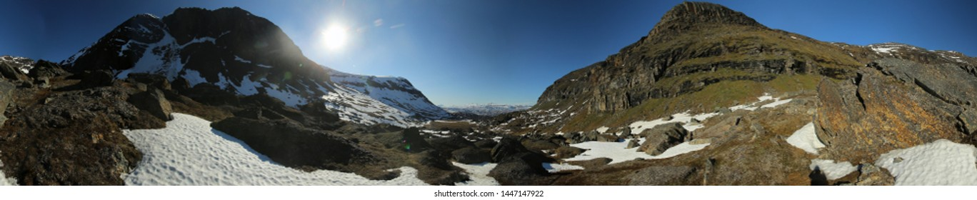 360 Degree Panorama of the valley Karkevagge in Northern Sweden.