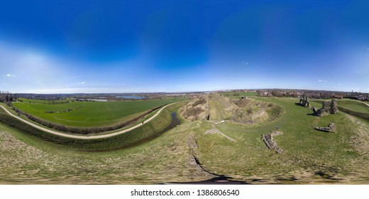 360 Degree panoramic sphere aerial photo of the ruins of Sandel Castle in Wakefield, West Yorkshire in the UK,