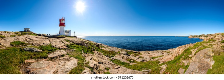360 degree panoramic view of Lighthouse Lindesnes Fyr on most southern point of Norway, Scandinavia, Europe