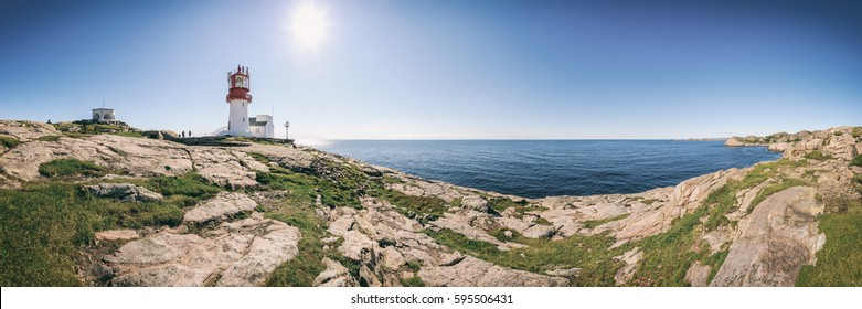 360 degree panoramic view of Lighthouse Lindesnes Fyr on most southern point of Norway, Scandinavia, Europe, Vintage filtered style