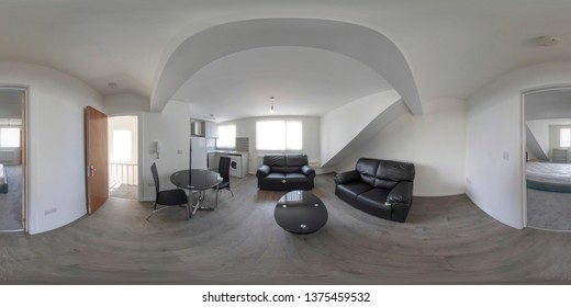 360 degree round sphere property photo of a brand new living room with a sofa table and chairs and coffee table, apartment, flat or house interior.