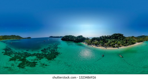 360 degree seamless aerial panorama of beautiful coral reefs around a remote tropical island