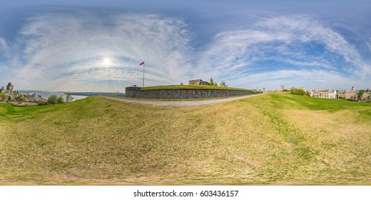 360 degree seamless panorama overlooking Quebec City and the St LAwrence river from the Plains of Abraham just outside the walls of the Citadel