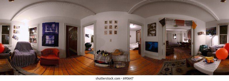 A 360 degree seamlessly stitchable panorama of the interior of student or young professional modern home.