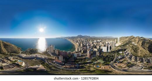 360 degree sphere aerial panoramic photo taken in Benidorm Alicante in Spain, drone 360 degree photo.