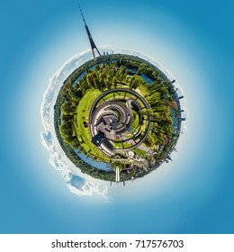 360 degree sphere. Panorama of Riga city, Latvia