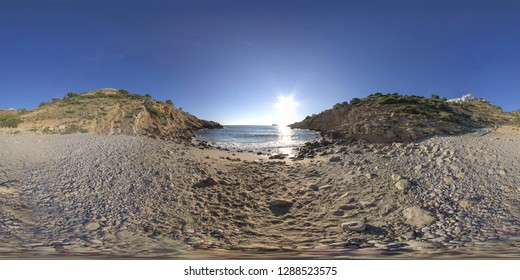 360 degree sphere panoramic photo taken at the famous Cala Tio Ximo nudist beach in Benidorm Alicante in Spain, 360 degree photo.