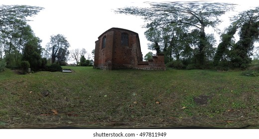 360 degree spherical panorama of a old field stone church in germany