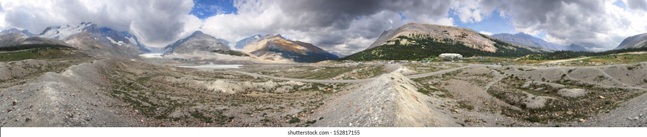 360 degree view Athabasca Glacier and Columbia Ice Fields, Banff National Park, Alberta, Canada Located about an 1-1/2 hour drive north of Lake Louise. Glacier was near this point in the year 2000.