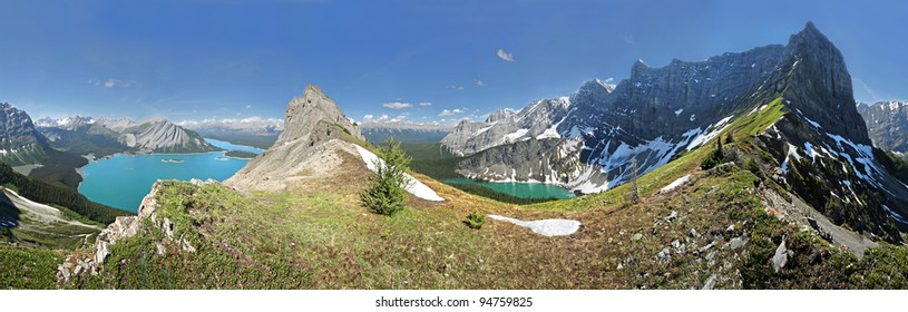 360 degree view of Kananaskis Lakes and Rawson Lake, Kananaskis Country, Alberta, Canada (3-4 hour steep hike/easy scramble to this ridge)