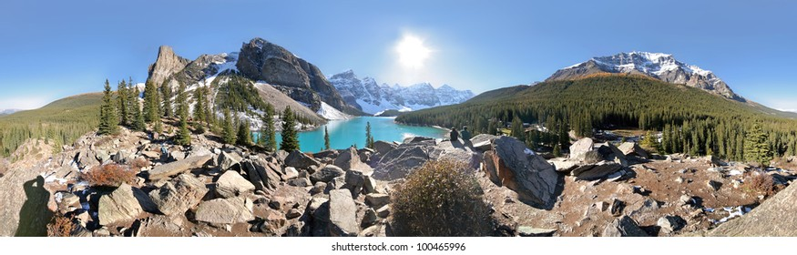 360 degree View of Moraine Lake and the surrounding mountains, Tower of Babel (l), Mount Temple (r), near Lake Louise, Banff National Park, Alberta, Canada