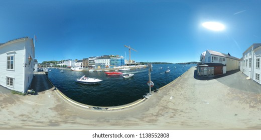 360 degree view of Pollen in Arendal, Norway from Tyholmen