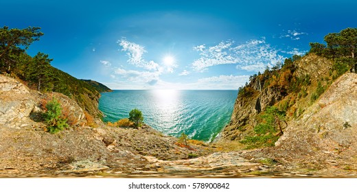 360 degrees 180 spherical panorama of a cliff above the water Baikal Sea.  vr content