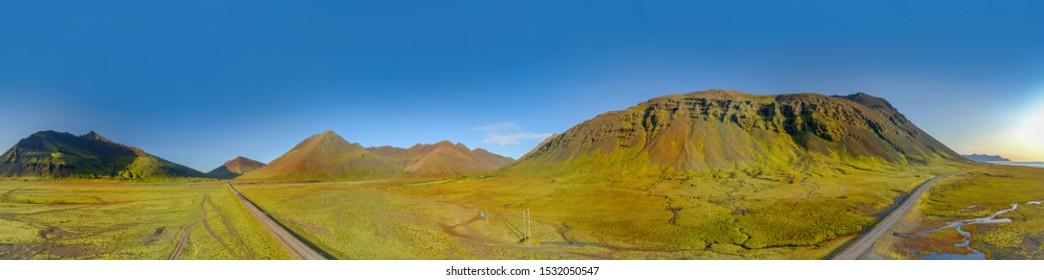 360 degrees Icelandic aerial landscape. 360 panorama of Vestrahorn mountain on a sunny day.