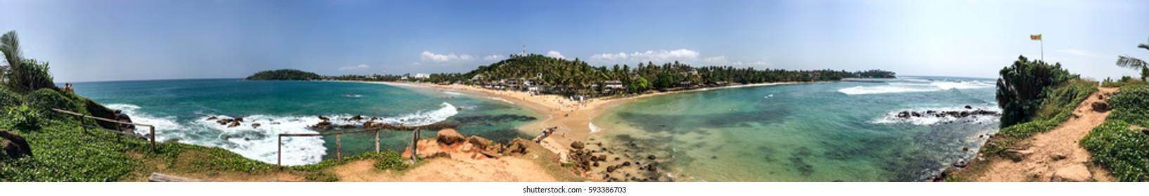 360 degrees panorama, beach in Mirissa, Sri Lanka