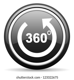 360 degrees panorama black glossy icon on white background
