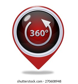 360 degrees pointer icon on white background