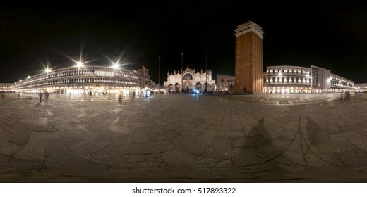 A 360 degrees (spherical) night view of St. Mark square and porticos in Venice.
