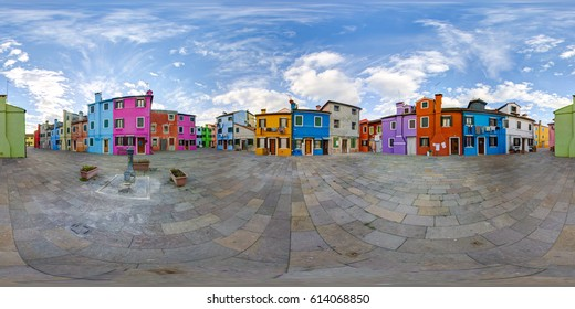 A 360 degrees (spherical) view of the island of Burano. 