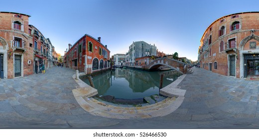 A 360 degrees (spherical) view of a square with a canal and a bridge in Venice. This spherical images are realized in a very high resolution, with DSLR cameras.