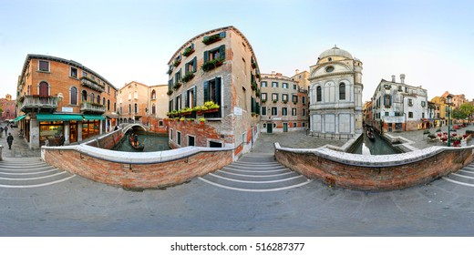A 360 degrees view of the Madonna of Miracles church in Venice.