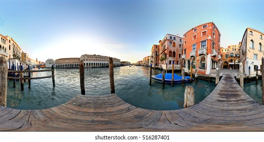 A 360 degrees view of Remer square from the pier on the Grand Canal in Venice.