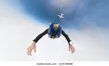 360 dregree selfie photo of skydiver above the clouds with camera attached on the helmet