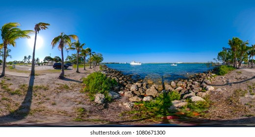 360 equirectangular panorama Miami Haulover Park view of Biscayne Bay