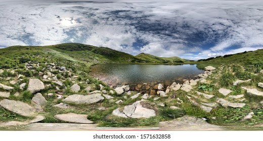 360 HDRI Panorama Alpine Lake. Ready for VR AR virtual reality