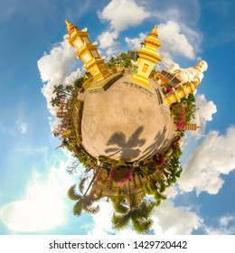 360 Little Planet of Sitting Buddha in Vinh Tranh Pagoda Vietnam